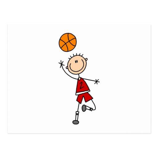 Camisetas y regalos rojos del jugador de básquet tarjeta postal