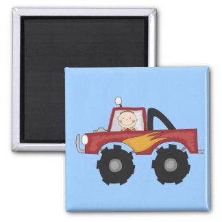 Camisetas y regalos rojos del monster truck imán cuadrado