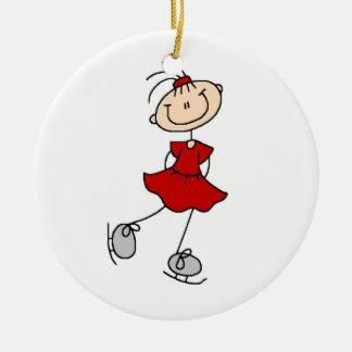 Camisetas y regalos rojos del patinador de hielo d adornos