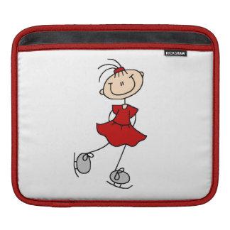 Camisetas y regalos rojos del patinador de hielo d mangas de iPad