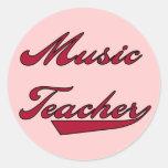 Camisetas y regalos rojos del profesor de música pegatina redonda