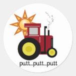 Camisetas y regalos rojos del tractor de granja etiquetas