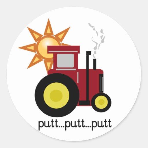 Camisetas y regalos rojos del tractor de granja etiquetas redondas