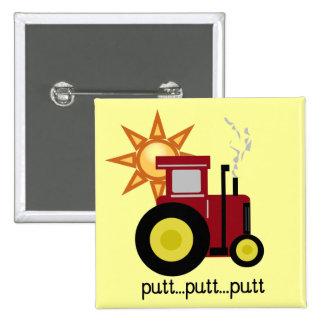 Camisetas y regalos rojos del tractor de granja pin cuadrada 5 cm