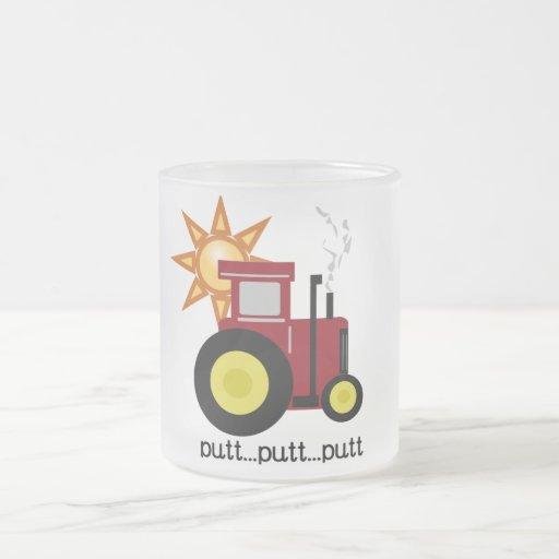 Camisetas y regalos rojos del tractor de granja taza cristal mate