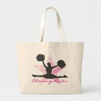 Camisetas y regalos rosados de las rocas que anima bolsa tela grande