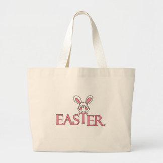 Camisetas y regalos rosados de Pascua del conejito Bolsa Tela Grande