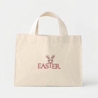 Camisetas y regalos rosados de Pascua del conejito Bolsa Tela Pequeña