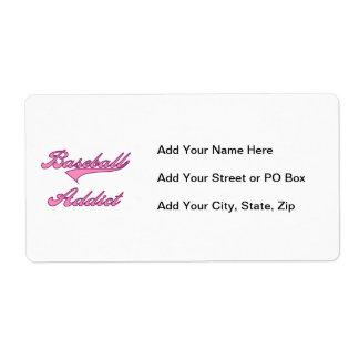 Camisetas y regalos rosados del adicto al béisbol etiqueta de envío