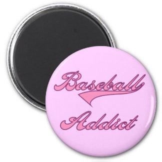 Camisetas y regalos rosados del adicto al béisbol imán para frigorífico