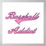 Camisetas y regalos rosados del adicto al béisbol impresiones