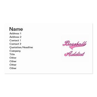 Camisetas y regalos rosados del adicto al béisbol plantilla de tarjeta de visita