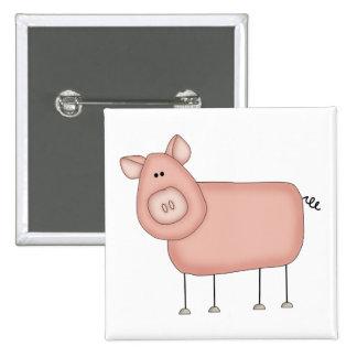 Camisetas y regalos rosados del cerdo pin cuadrada 5 cm