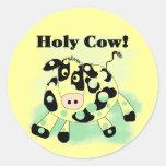 Camisetas y regalos santos de la vaca pegatinas redondas
