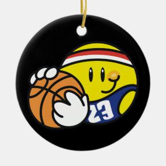 Camisetas y regalos sonrientes del baloncesto adorno redondo de cerámica