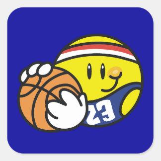 Camisetas y regalos sonrientes del baloncesto pegatina cuadrada