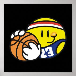 Camisetas y regalos sonrientes del baloncesto póster