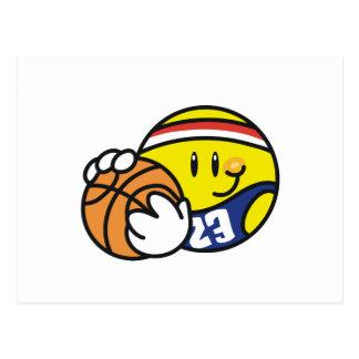 Camisetas y regalos sonrientes del baloncesto tarjetas postales