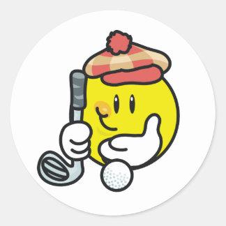Camisetas y regalos sonrientes del golf de la cara pegatina redonda