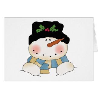 Camisetas y regalos sonrientes del muñeco de nieve tarjetas
