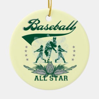 Camisetas y regalos verdes de All Star del béisbol Adorno Navideño Redondo De Cerámica