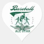 Camisetas y regalos verdes de All Star del béisbol Calcomanía De Corazón