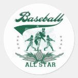 Camisetas y regalos verdes de All Star del béisbol Etiquetas Redondas