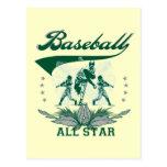 Camisetas y regalos verdes de All Star del béisbol Tarjeta Postal
