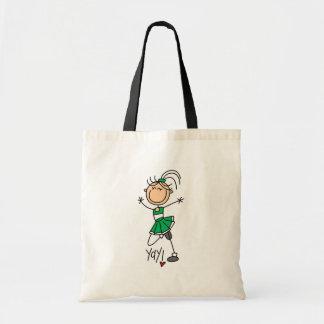 Camisetas y regalos verdes de la animadora bolsa tela barata