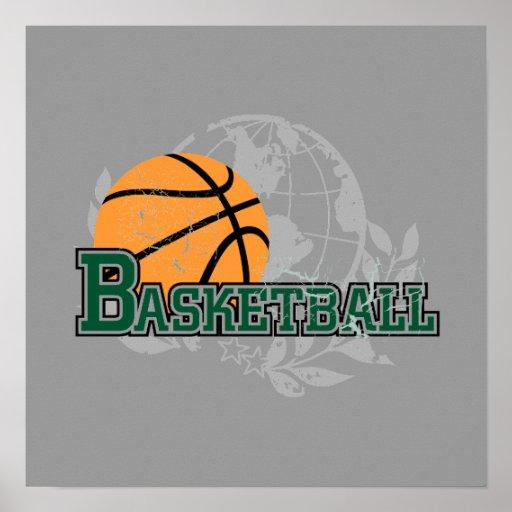 Camisetas y regalos verdes del baloncesto póster