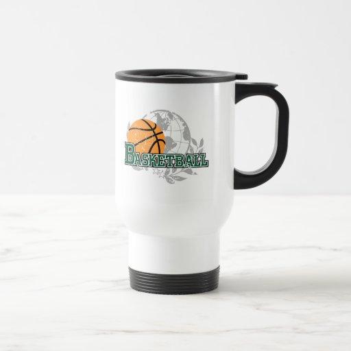 Camisetas y regalos verdes del baloncesto tazas de café