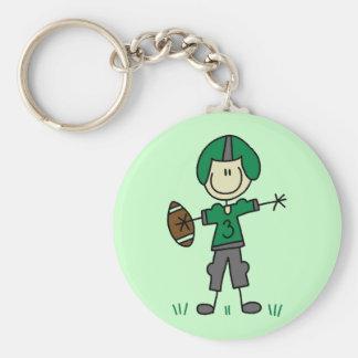 Camisetas y regalos verdes del futbolista llavero redondo tipo pin