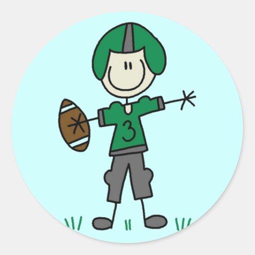 Camisetas y regalos verdes del futbolista pegatina redonda