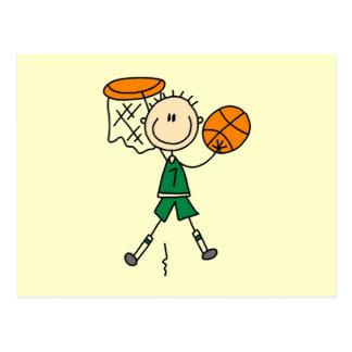 Camisetas y regalos verdes del jugador de básquet postal