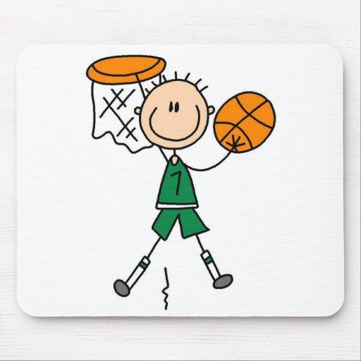 Camisetas y regalos verdes del jugador de básquet  tapete de ratón