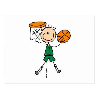 Camisetas y regalos verdes del jugador de básquet tarjetas postales