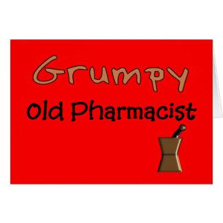 Camisetas y regalos viejos gruñones del farmacéuti tarjeta de felicitación