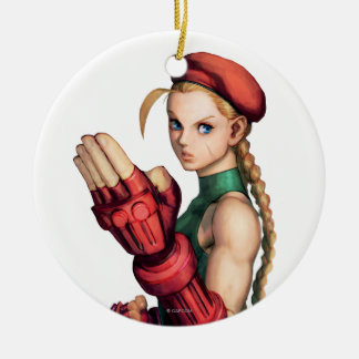 Cammy With Hand Up Double-Sided Ceramic Round Christmas Ornament