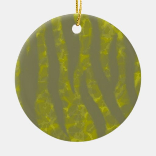 CAMNO STRIPES 1719 JUNGLE ANIMAL PRINTS GREENS YEL Double-Sided CERAMIC ROUND CHRISTMAS ORNAMENT