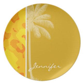 Camo amarillo ambarino; Camuflaje; Palma Platos Para Fiestas