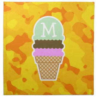 Camo amarillo ambarino; Cono de helado Servilleta Imprimida