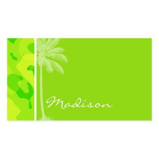 Camo amarillo verde de neón; Palmera tropical Tarjetas De Visita