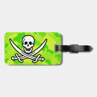 Camo amarillo verde de neón; Pirata Etiqueta Para Equipaje