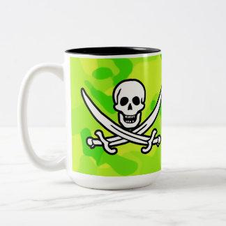 Camo amarillo verde de neón; Pirata Tazas De Café