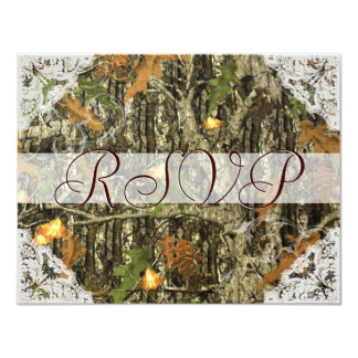 Camo and Antique White Lace Wedding RSVP 4.25x5.5 Paper Invitation Card