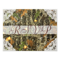 Camo and Antique White Lace Wedding RSVP Card (<em>$1.96</em>)