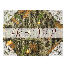 Camo and Antique White Lace Wedding RSVP Card