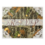 Camo and Antique White Lace Wedding RSVP Custom Announcement