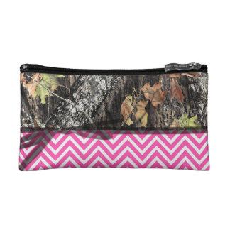 Camo and Hot Pink Chevron Make Up Bag