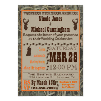 Camo and Hunting Burnt Orange Wedding Invitation